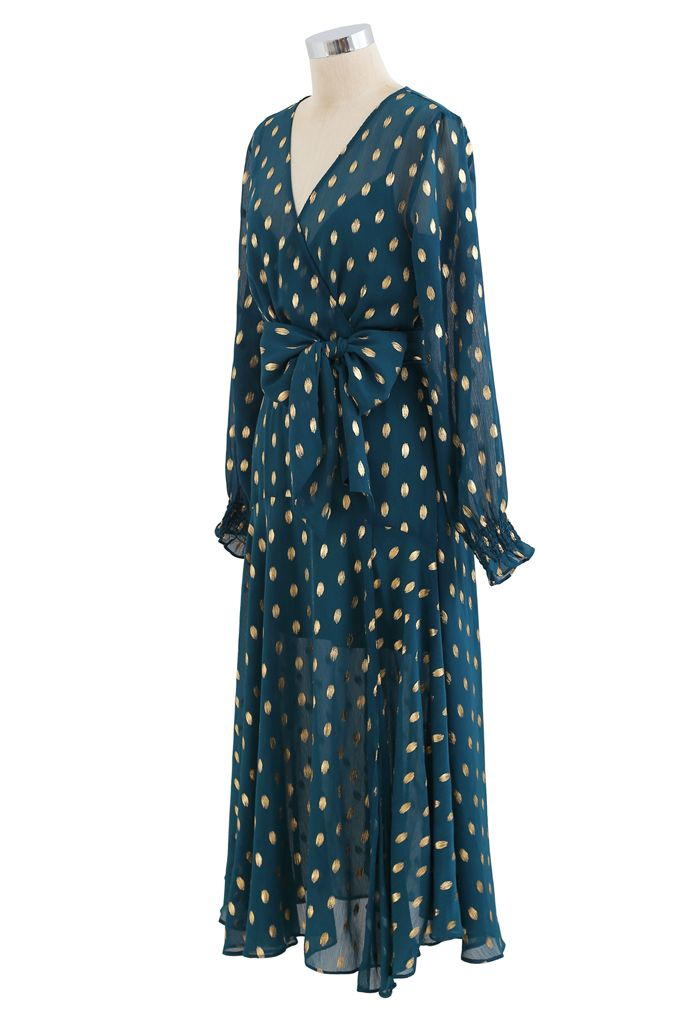 Oval Dots Semi-Sheer Split Wrap Dress in Emerald