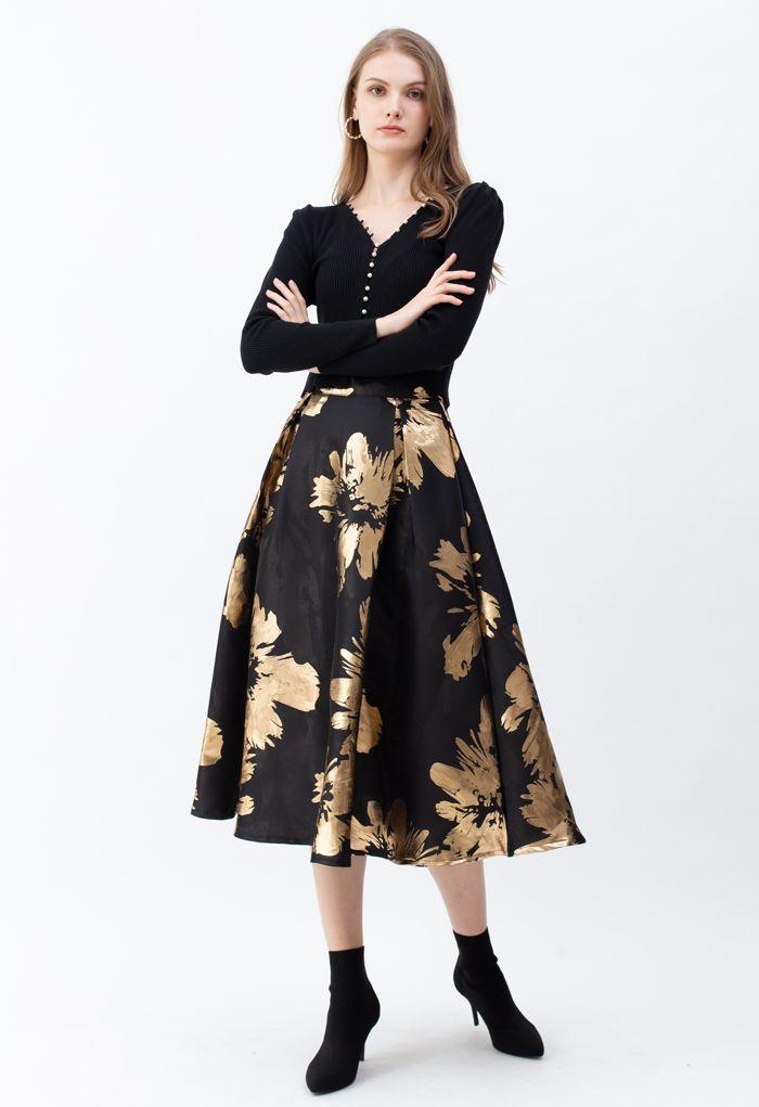 Golden Blossom Jacquard A-Line Midi Skirt