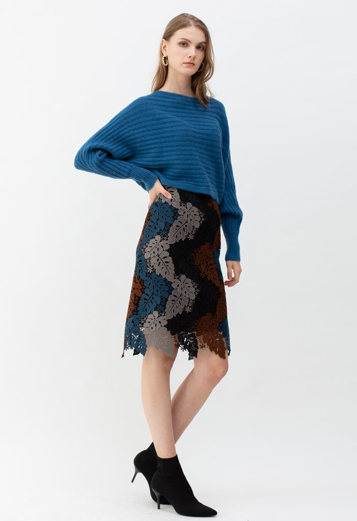 Multi-Color Leaves Crochet Pencil Skirt in Smoke