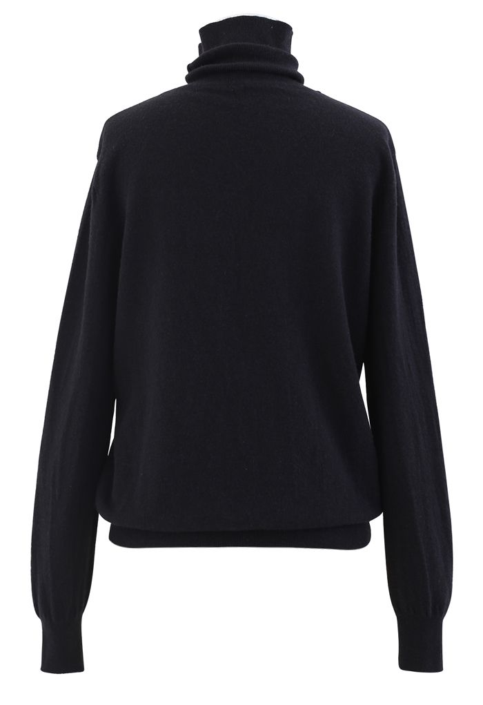 Turtleneck Soft Touch Ribbed Knit Sweater in Black