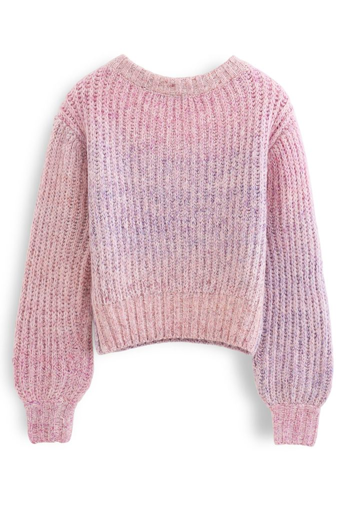 Ombre V-Neck Knit Sweater in Pink