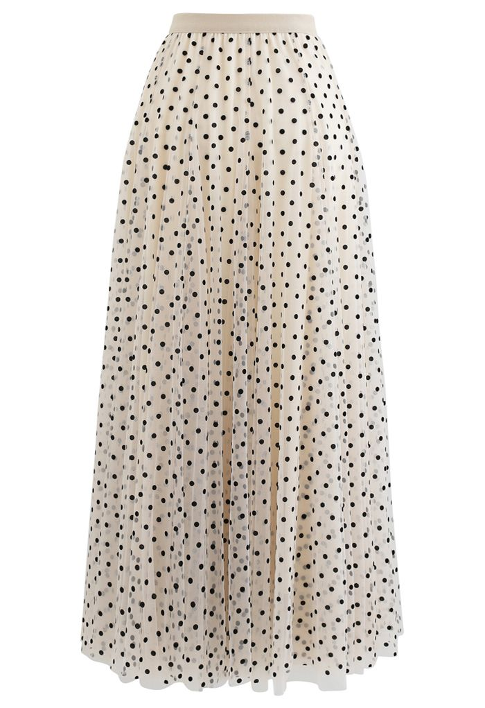 My Secret Weapon Tulle Maxi Skirt in Cream Dots