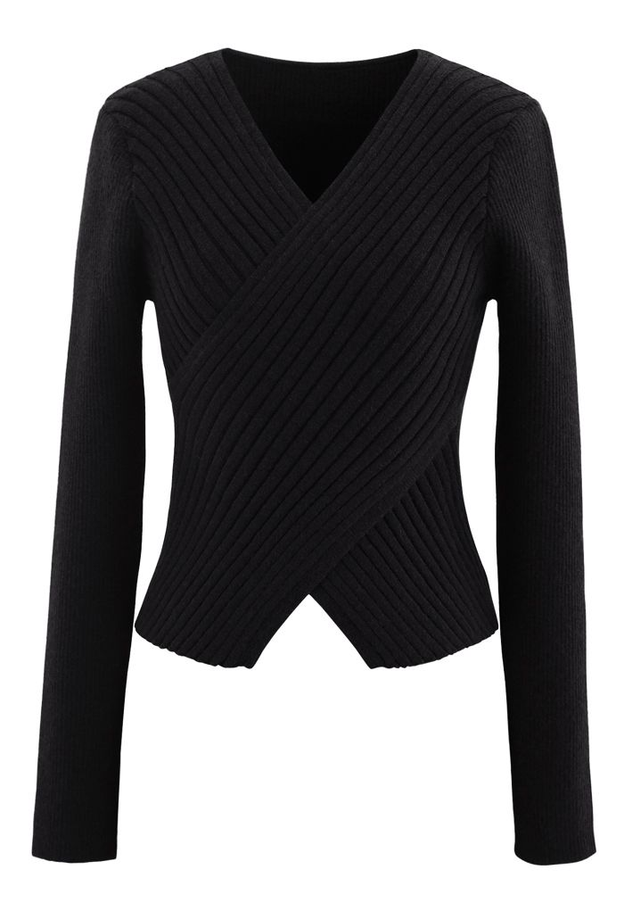 Crisscross Fitted Rib Knit Top in Black