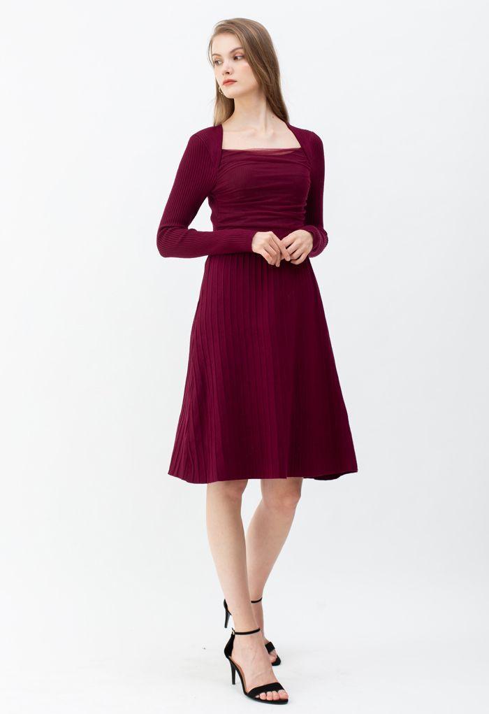 Mesh Overlay Square Neck Rib Knit Dress in Wine
