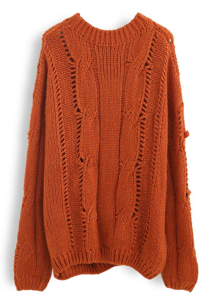 Pom-Pom Eyelet Chunky Knit Sweater in Orange