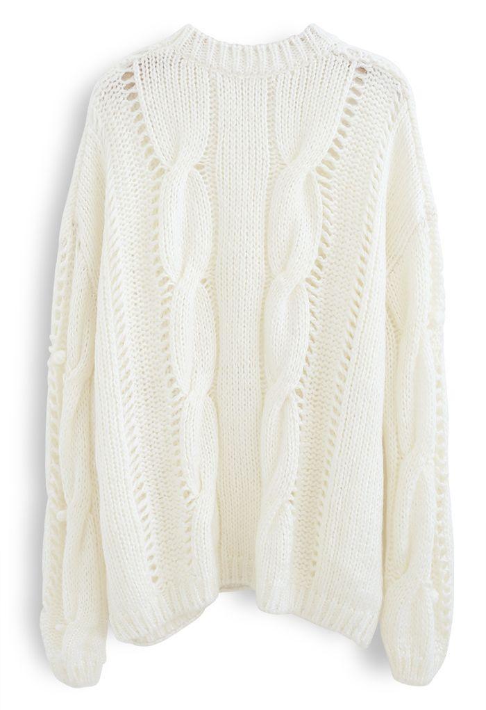 Pom-Pom Eyelet Chunky Knit Sweater in White