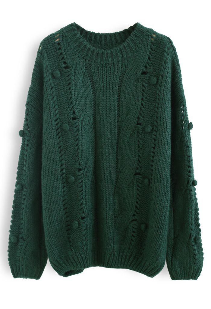 Pom-Pom Eyelet Chunky Knit Sweater in Dark Green
