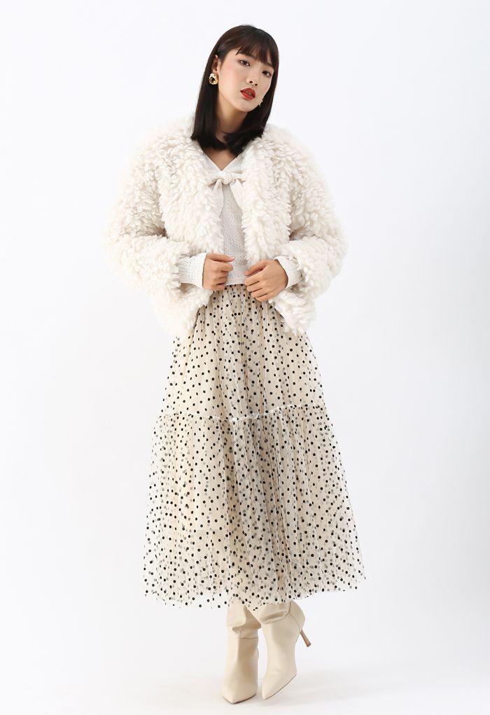 Open Front Fluffy Faux Fur Crop Jacket in Ivory