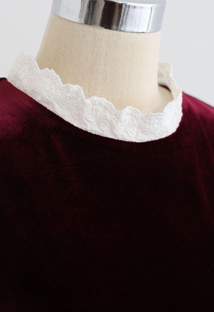 Sweet Neckline Velvet Flare Dress in Wine