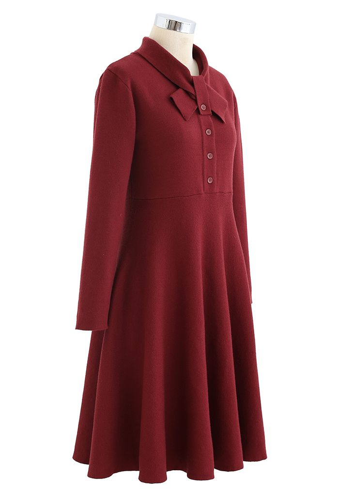 Knotted Neck Button Down Knit Dress in Wine