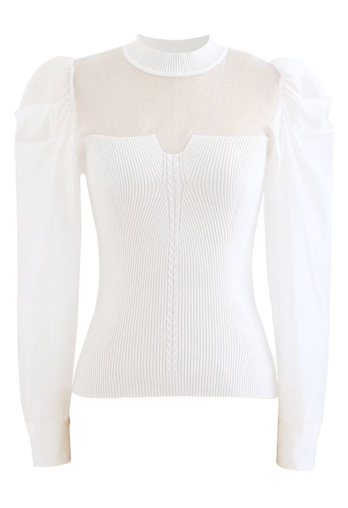 Organza Spliced Puff Sleeves Knit Top in White