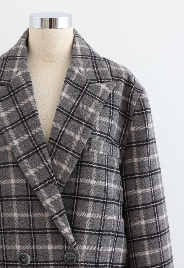 Wool-Blend Plaid Double-Breasted Coat in Smoke