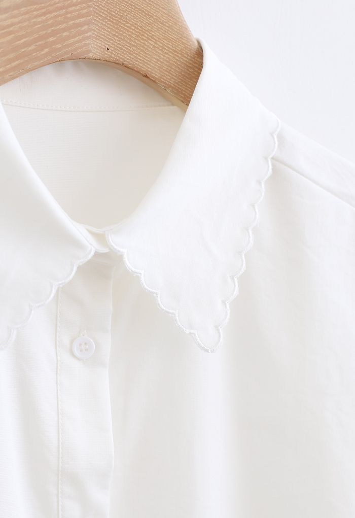 Embroidered Collar Buttoned Hi-Lo Shirt in White