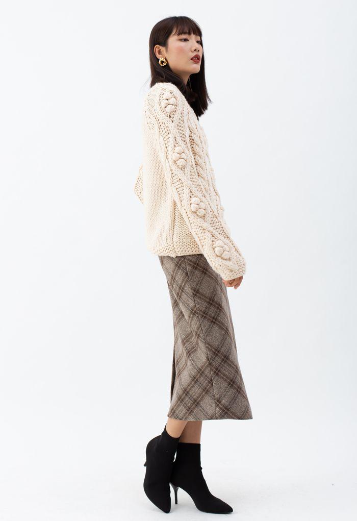 Braid Pom-Pom Hand-Knit Sweater