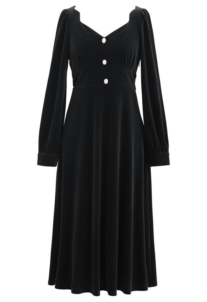 Sweetheart Neck Buttoned Velvet Dress in Black