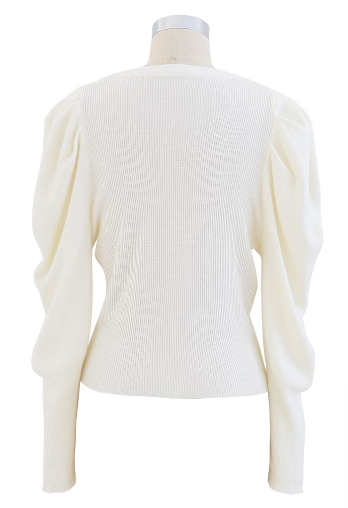 Button Ribbed Puff Sleeve Knit Top in Cream