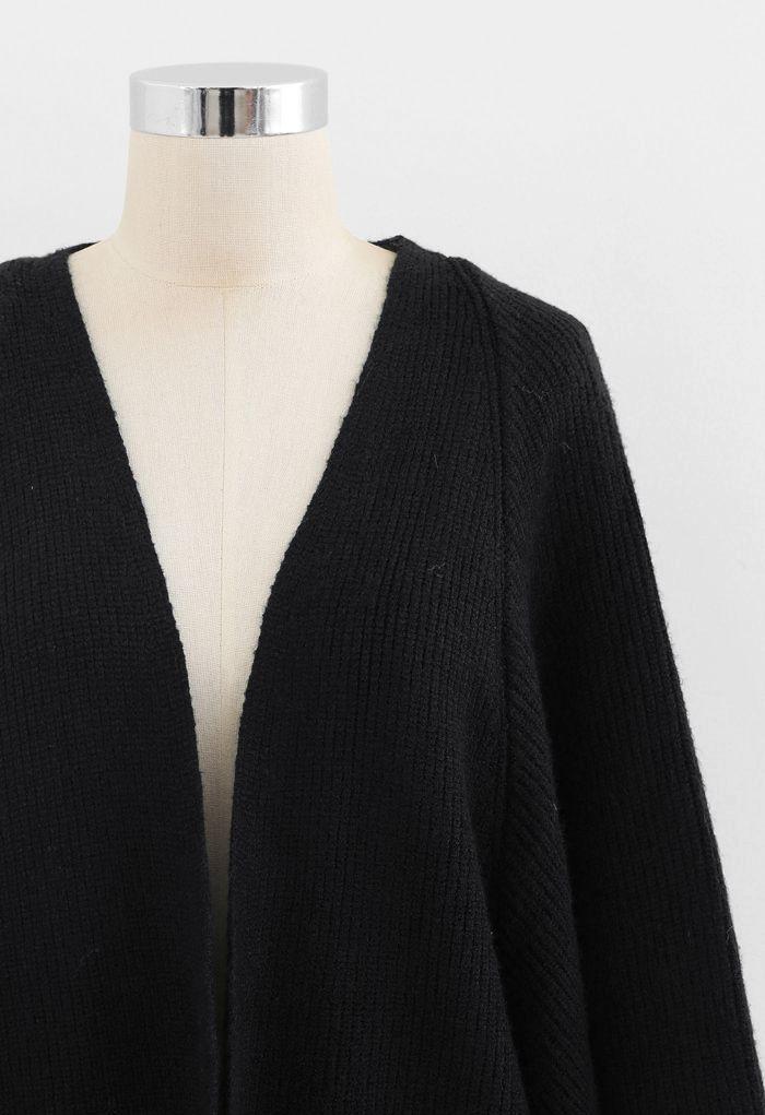 Batwing Ribbed Knit Longline Cardigan in Black