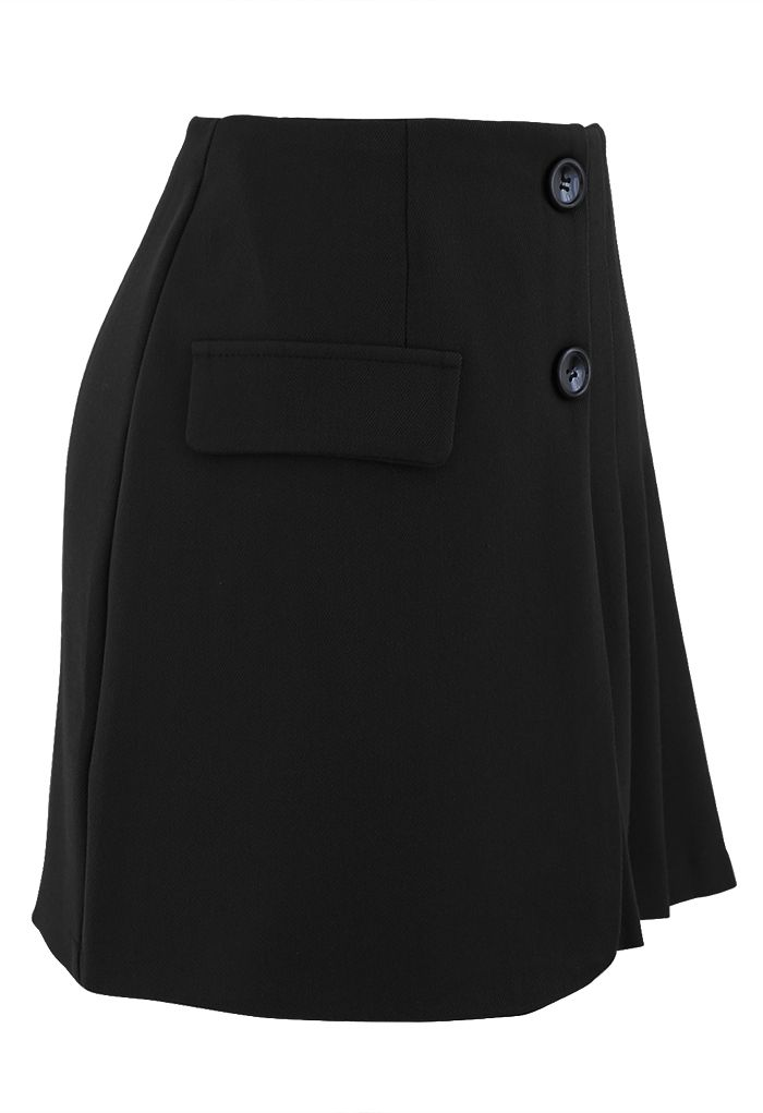 Buttoned Flap Pleated Mini Skirt in Black