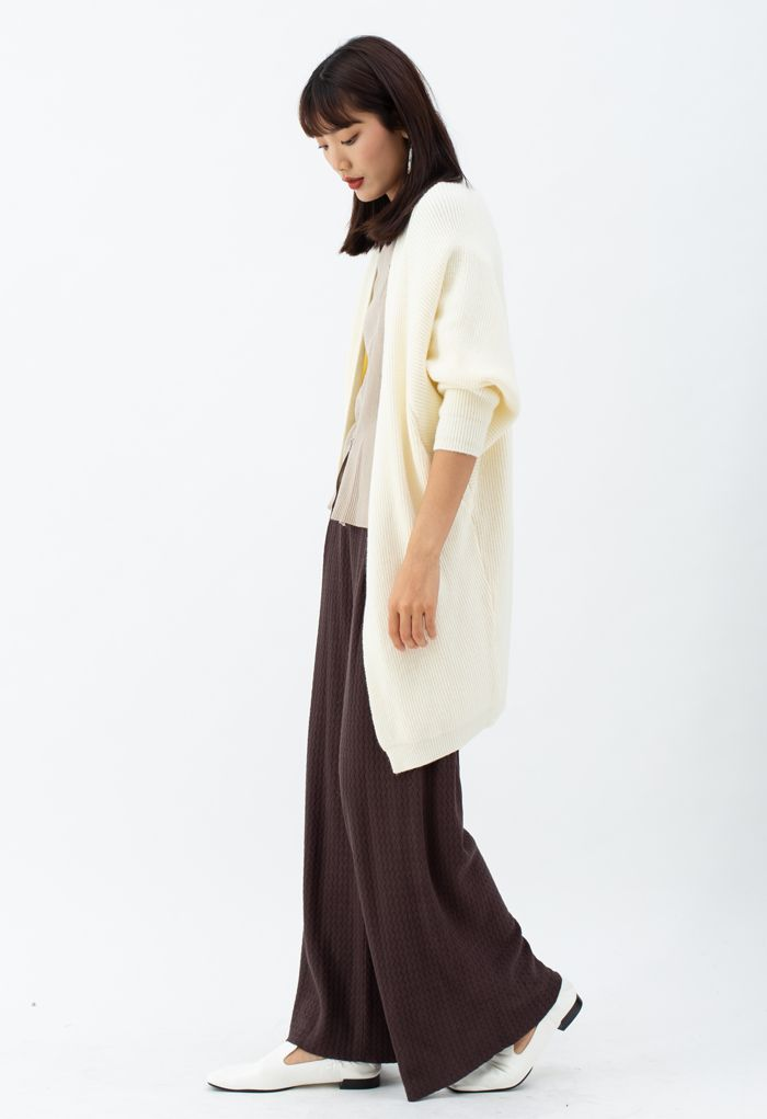 Batwing Ribbed Knit Longline Cardigan in Cream