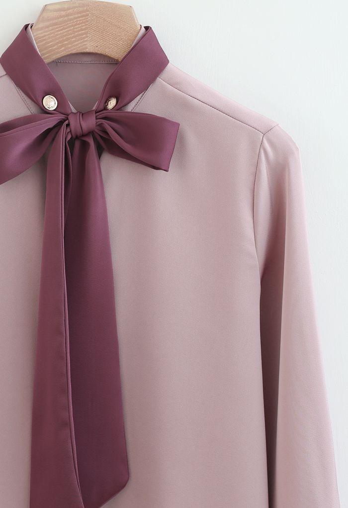 Bow Tie Neck Satin Button Down Shirt in Pink