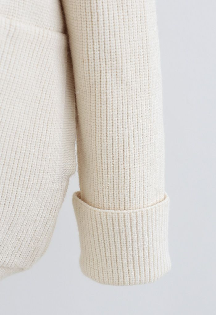 Ivory Soft Touch Buttoned Hooded Cardigan