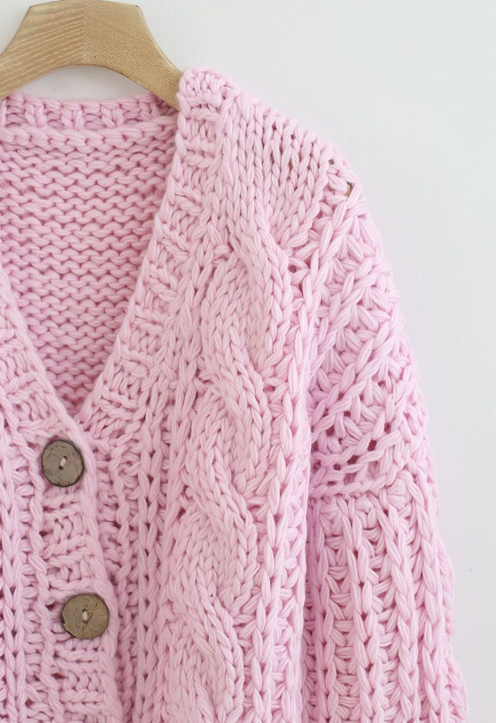 V-Neck Crop Hand-Knit Chunky Cardigan in Pink
