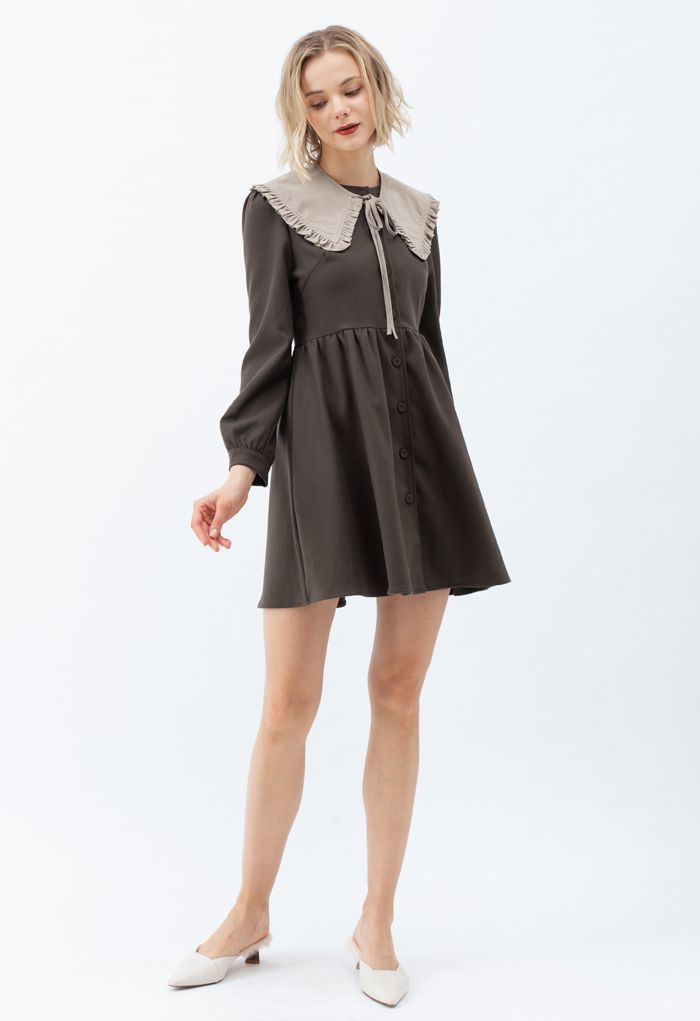 Detachable Collar Button Down Coat Dress in Brown
