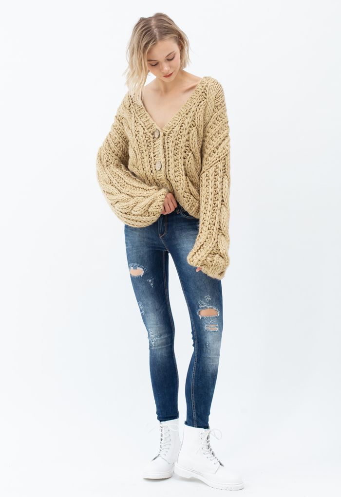V-Neck Crop Hand-Knit Chunky Cardigan in Camel
