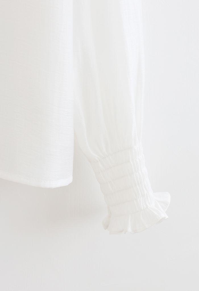 Ruffle Detail Button Down Shirt in White