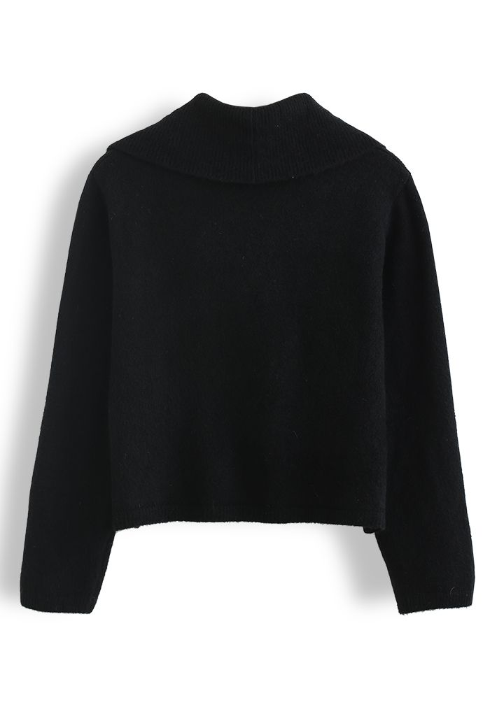 Collared Cold-Shoulder Knit Sweater in Black