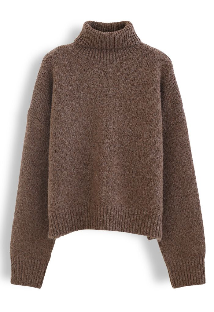 Chic Turtleneck Fuzzy Knit Sweater in Brown