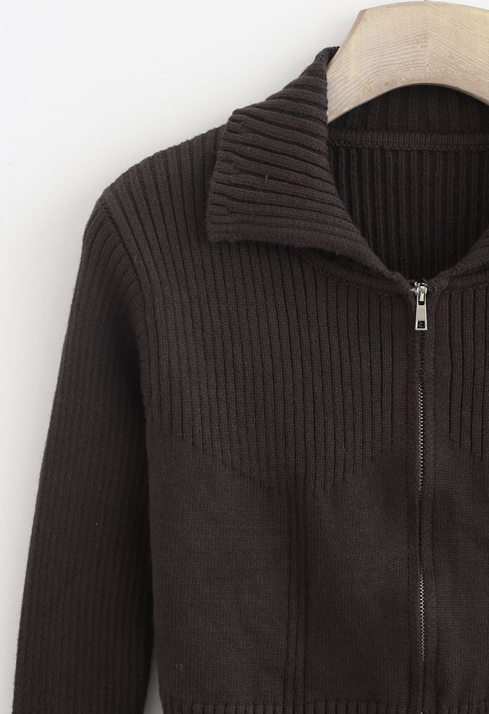 Collared Zipper Rib Knit Crop Top in Brown