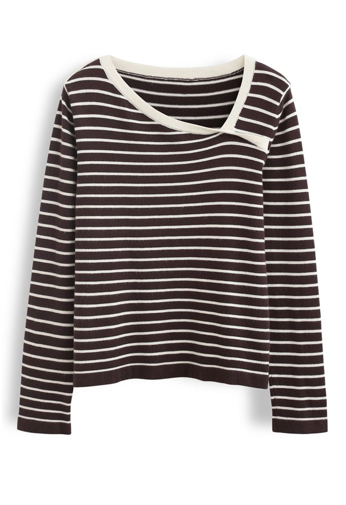 Oblique Collar Striped Knit Top in Brown