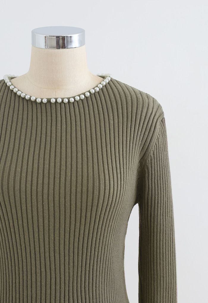 Pearl Neck Ribbed Hi-Lo Knit Sweater in Olive