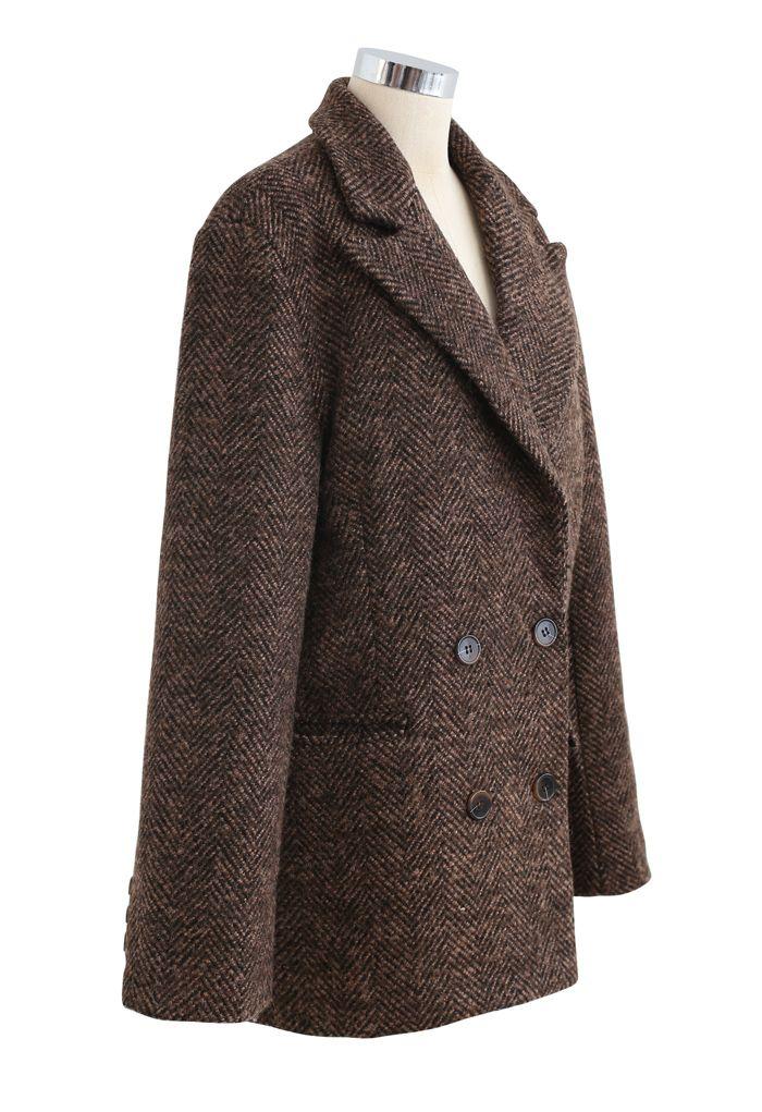 Herringbone Double-Breasted Wool-Blend Quilted Blazer