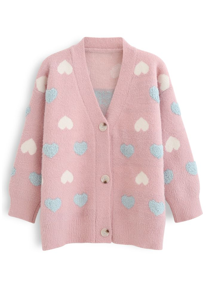 Button Down Heart Fuzzy Knit Cardigan in Pink