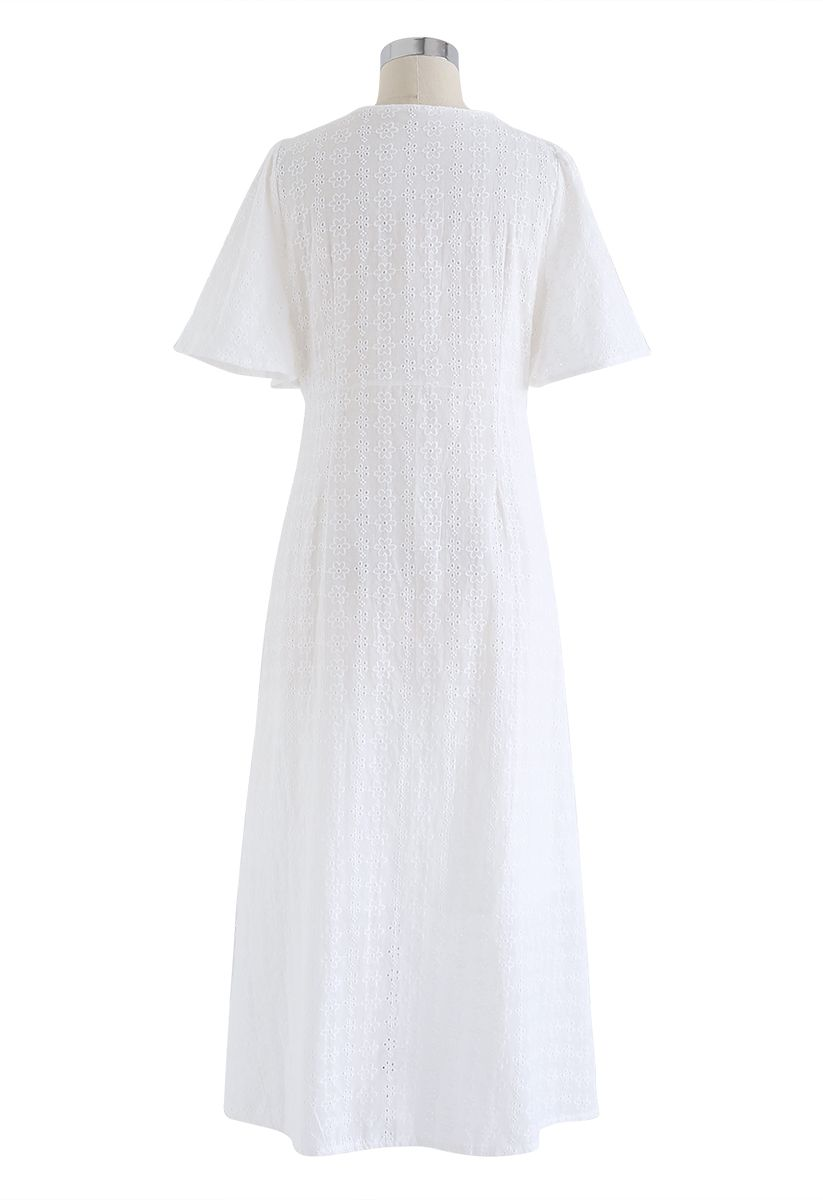 Eyelet Embroidery Button Down Dress in White