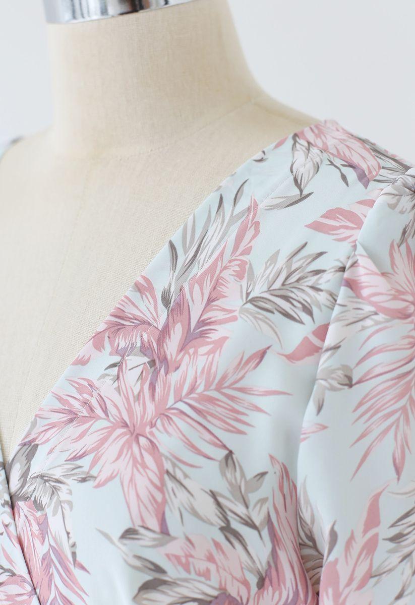 Pinky Leaves Print Frill Hem Wrap Maxi Dress
