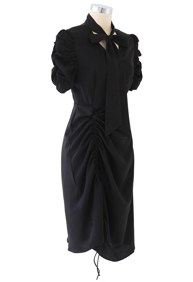 Drawstring Bow-Neck Dress in Black