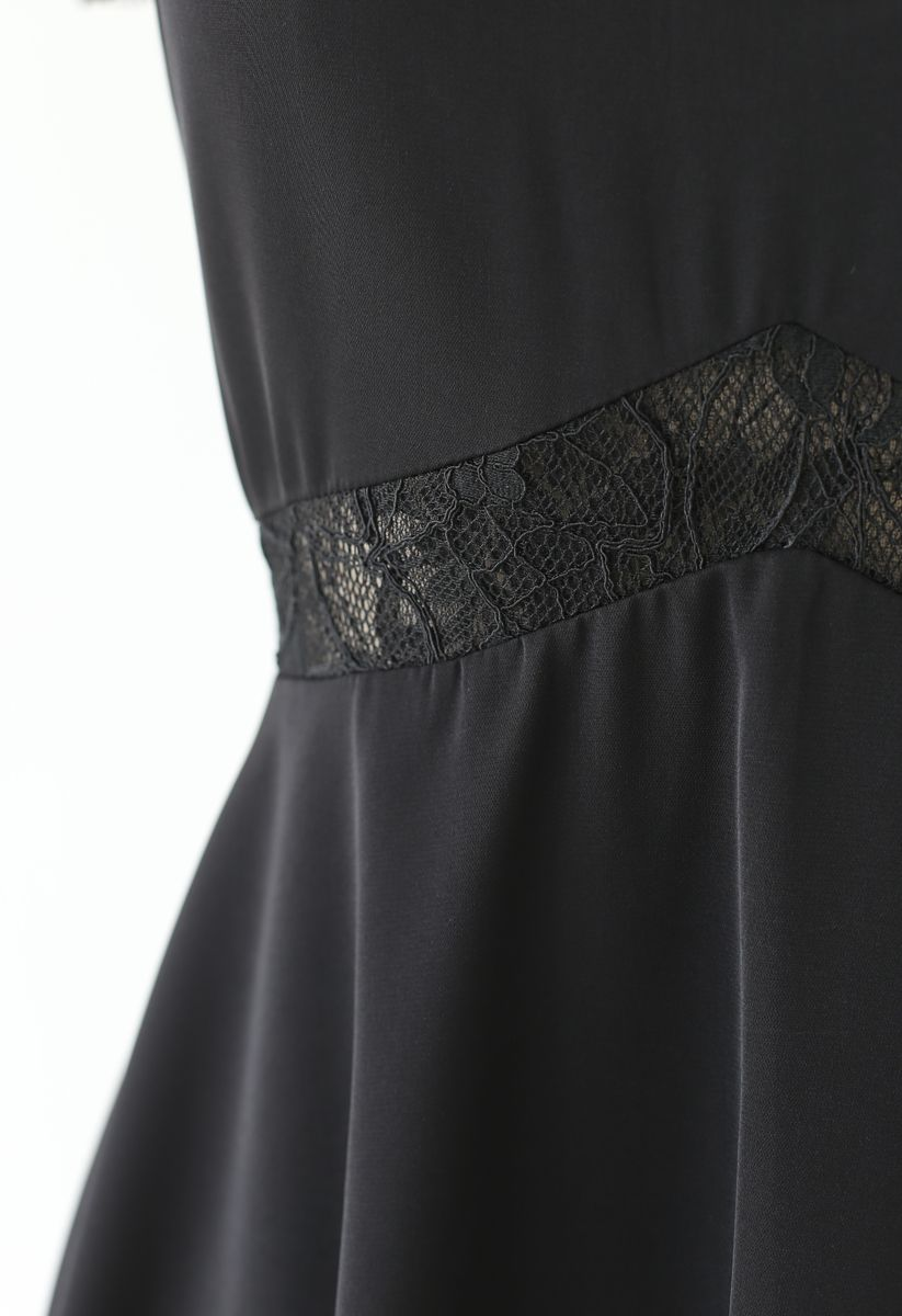 Lace Trim Flare Midi Dress in Black