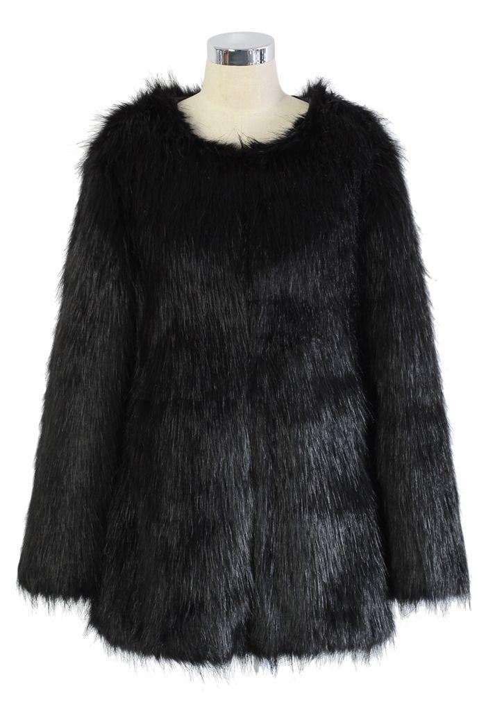 Manteau en fausse fourrure Chicwish Glam noir