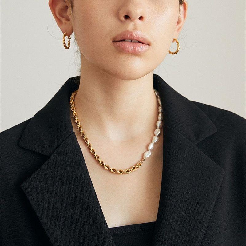 Collier de perles chaîne dorée