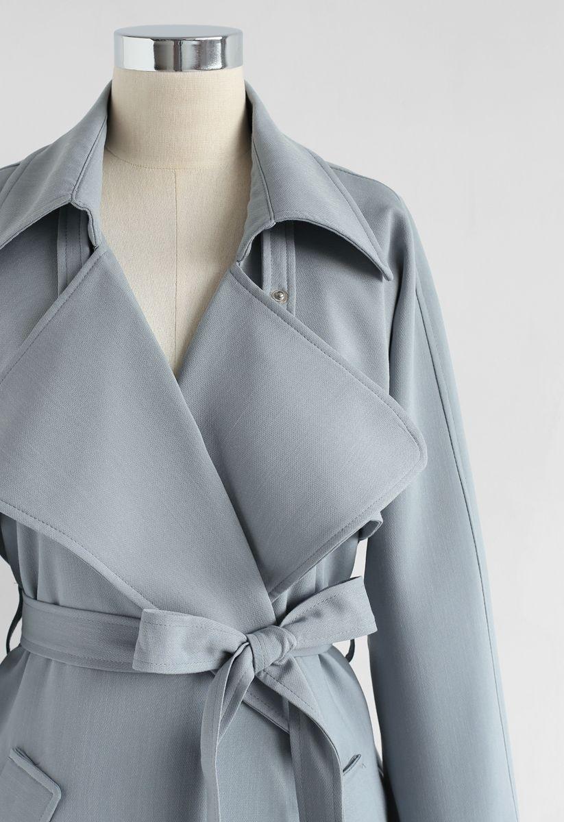 Manteau Belted Texturé en Gris