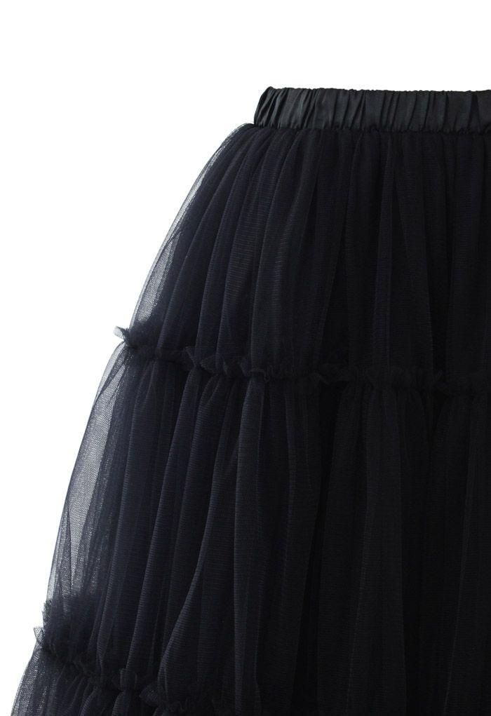 Amour Jupe Mi-longue en Tulle Noir