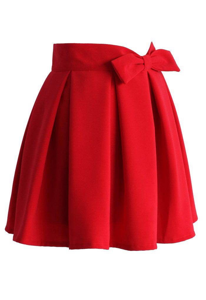 Toucher Votre Cœur Mini-Jupe Plissée en Rouge