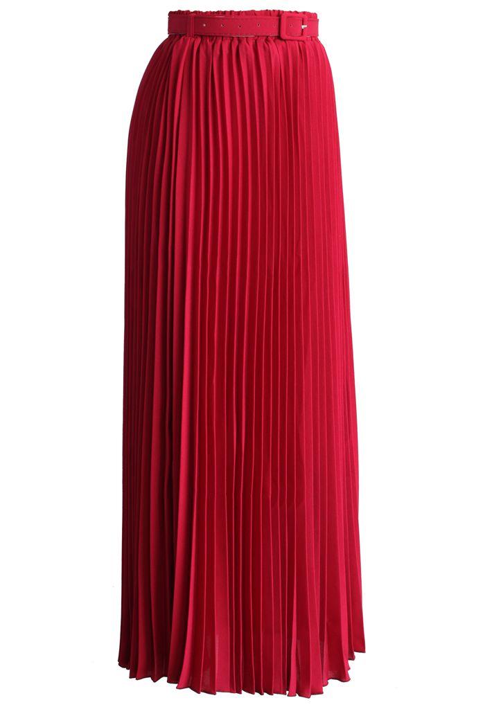 Jupe longue en mousseline plissée avec ceinture en rubis
