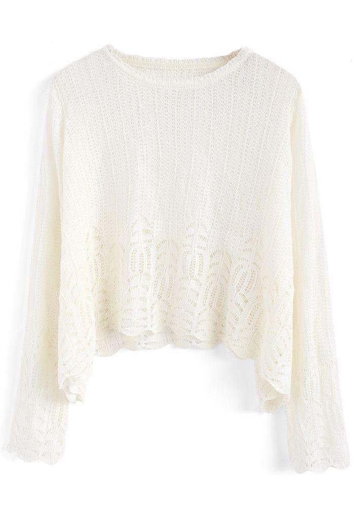 Soyez plus proche des loisirs Haut en tricot blanc