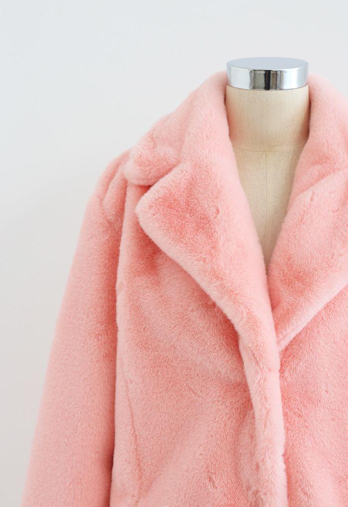Manteau en Fausse Fourrure Rose Chamallow