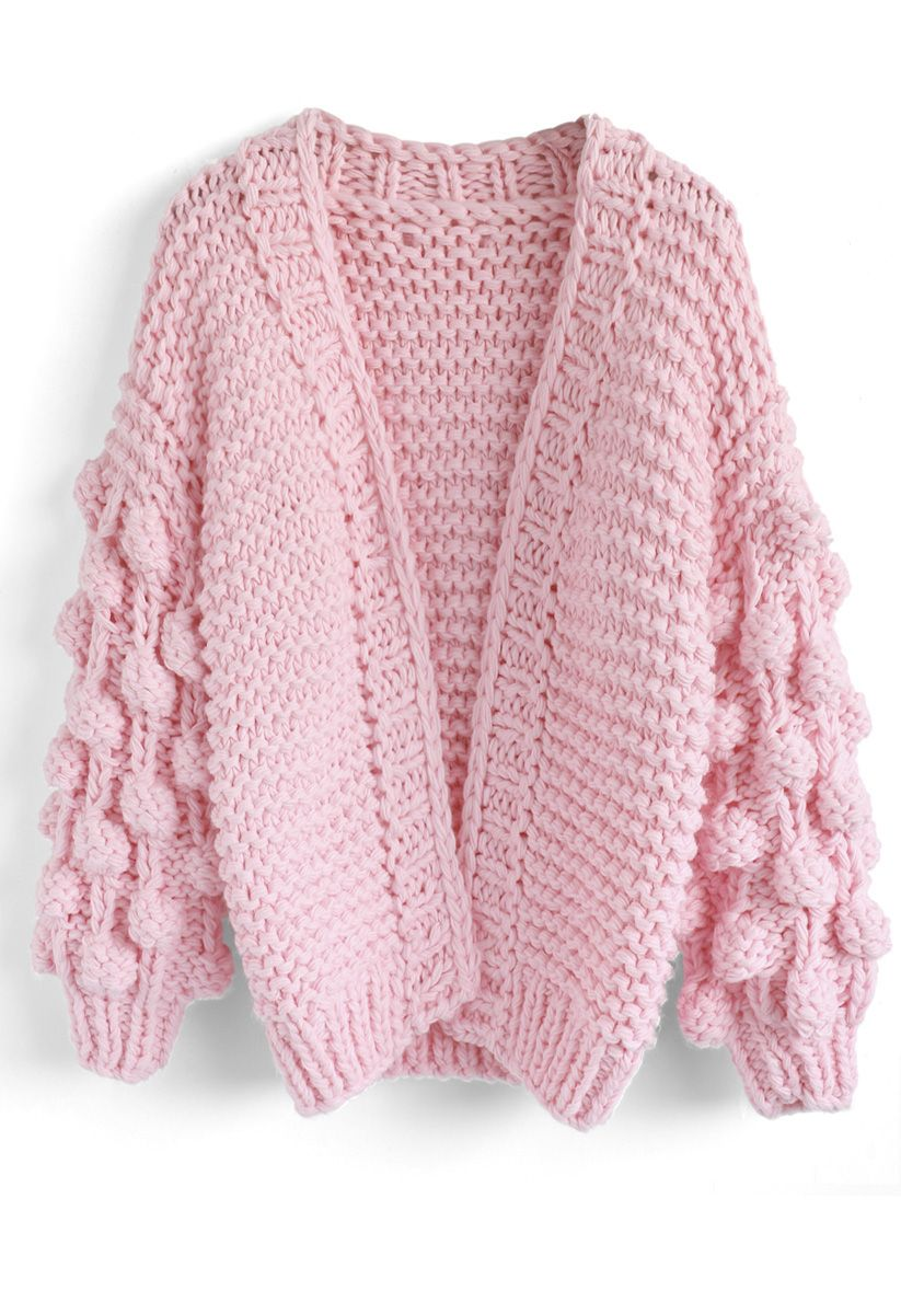 Cuteness on Sleeves Cardigan à grosse maille rose