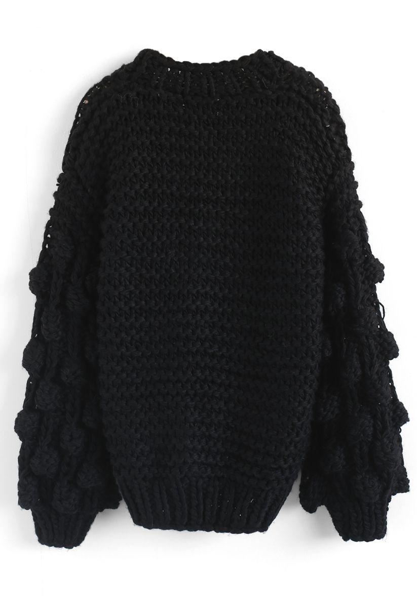 Cuteness on Sleeves Cardigan à grosse maille noir
